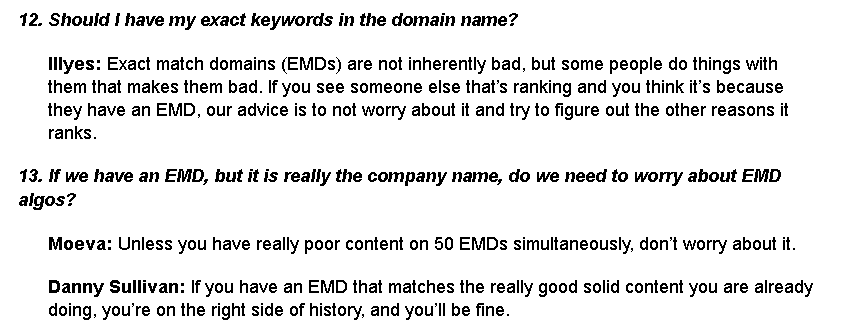 usage of EMD answer by google