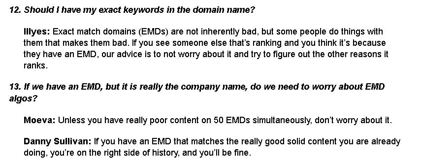 usage of EMD answer by google