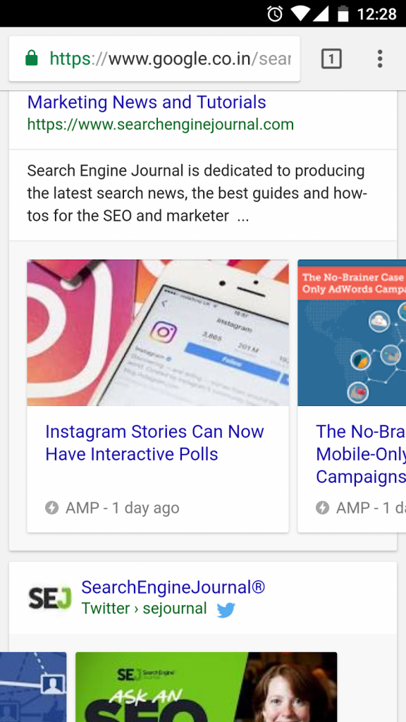 AMP results in SERP