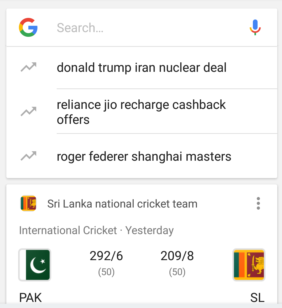 Trending searches image in Google