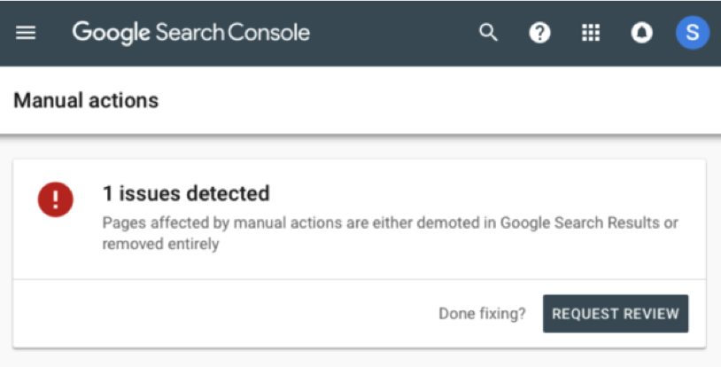 Search Console Manual Issues detected