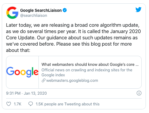 January Core Update Announcement by Google Search Liaison