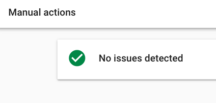 Search Console Manual Issues not detected