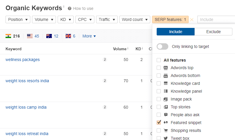 Ahrefs Featured snippet