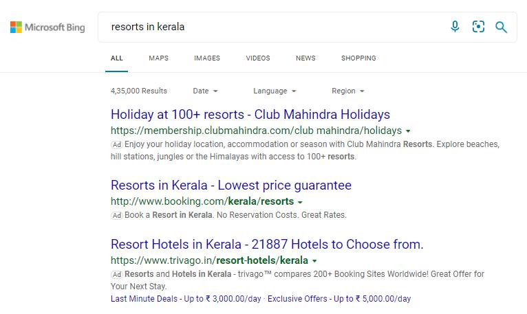 Bing SERP results