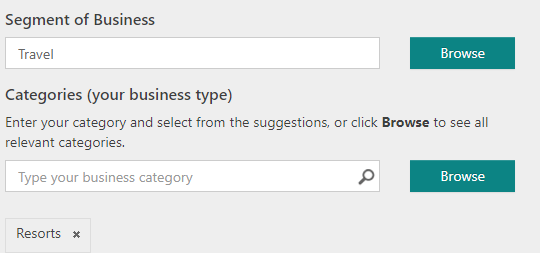Bing category for resorts