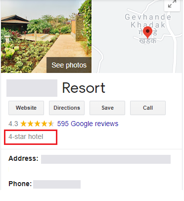 GMB category for resorts