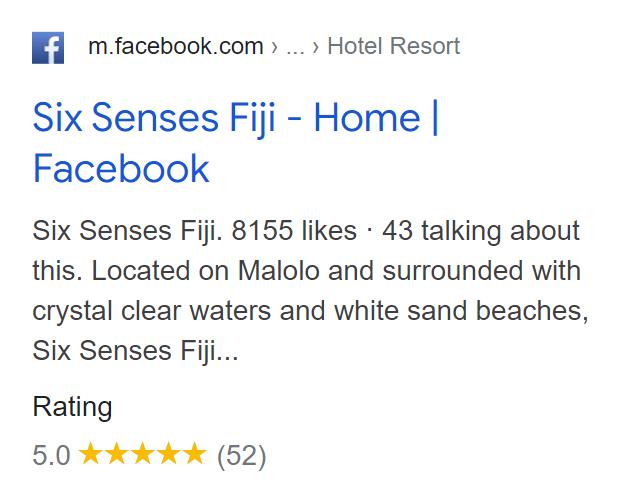 Facebook results in SERP